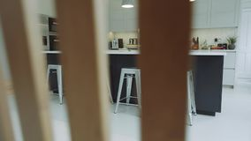 Beautiful interior design of a kitchen stock video