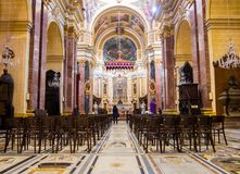 Cathedral, Malta. Beautiful interior of the famous Saint Mdina Cathedral in Malta, Landmark of Europe Royalty Free Stock Photography