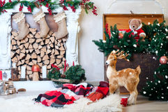 Beautiful interior with a fireplace Christmas Royalty Free Stock Images