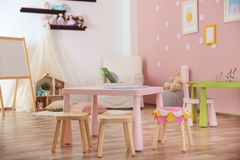 Beautiful interior of game room. In kindergarten Stock Photography