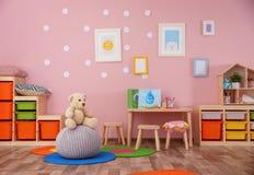 Beautiful interior of game room. In kindergarten Stock Photo