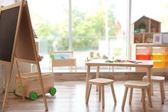 Beautiful interior of game room. In kindergarten Royalty Free Stock Photo