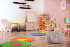 Beautiful interior of game room. In kindergarten Stock Image