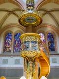 Beautiful interior of Herz-Jesu Parish Church in Bregenz, Austria. BREGENZ, AUSTRIA - JUNE 24, 2015: Beautiful interior of Herz-Jesu-Kirche or Parish Church of royalty free stock photography