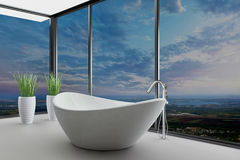 Beautiful interior of a modern bathroom. A 3d rendering of beautiful interior of a modern bathroom Royalty Free Stock Images