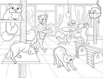 Beautiful interior of modern cat cafe for people cartoon raster illustration. Zentangle style. Black and white royalty free stock images