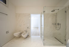 Beautiful interior of a modern house. Bathroom Stock Images