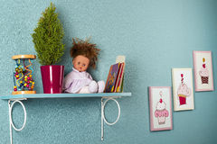 Beautiful interior of nursery  with shelf on the wall Royalty Free Stock Images