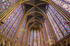 Beautiful interior of the Sainte Chapelle in Paris. Royalty Free Stock Image