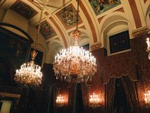 Beautiful interiors of the royal palace in Amsterdam. House of my dreams Royalty Free Stock Photo