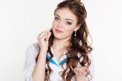 Beautiful intern girl with vitamins Royalty Free Stock Photos