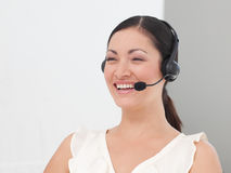 Beautiful International Business woman Headset Stock Images