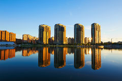 The beautiful inverted reflection in water sunset landscape daqing Stock Photography
