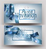 Beautiful invitation banners with silk  blue ribbons and  frame. Vector illustration Stock Images