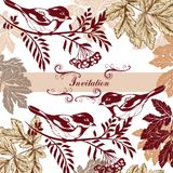 Beautiful invitation card with birds Royalty Free Stock Images