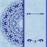 Beautiful invitation card with a blue floral pattern stylized gzhel. Royalty Free Stock Photos
