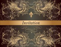 Beautiful invitation card in vintage classic style Royalty Free Stock Images