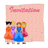 Beautiful invitation with four little girls Stock Photo