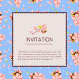 Beautiful invitation or greeting card template with pink almond flowers. Vector illustration in a vintage style Royalty Free Stock Images