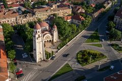 Beautiful Iosefin Orthodox Church in Timisoara, Romania. Beautiful Iosefin Orthodox Church with special architecture in Timisoara, Romania - aerial view taken by Stock Photo