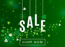Beautiful ireland background for st. Patrick`s day sale poster or banner design. Vector horizontal illustration with clover leaves and white shamrocks royalty free illustration