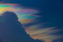 Beautiful iridescent cloud, Irisation or rainbow cloud. On sky stock photography