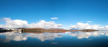 Beautiful irish panoramic landscape from achill island in county mayo. Scenic ireland rural countryside in nature with landscape reflections onto the sea Royalty Free Stock Photo