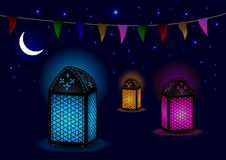 Beautiful Islamic Lamps with Crescent and Stars royalty free illustration