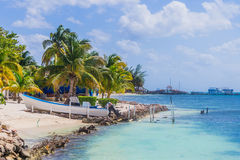 Beautiful island, beach of Isla Mujeres, boat on the beach Mexico Stock Image