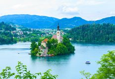 Beautiful island with church in the middle of lake Bled, Slovenia Royalty Free Stock Images