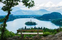 Beautiful island with church in the middle of lake Bled, Slovenia Royalty Free Stock Photos