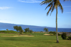 Beautiful Island Golf Hole. A green sitting on the edge of the pacific ocean forms a beautiful golf hole on Maui Royalty Free Stock Photos