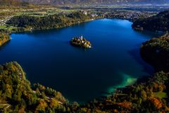 Beautiful island on lake Bled Royalty Free Stock Photos