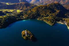 Beautiful island on lake Bled Royalty Free Stock Photo