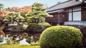 Beautiful island on the lake at Koko-en Gardens, Himeji. royalty free stock images