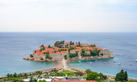 Beautiful Island and Luxury Resort Sveti Stefan, Montenegro. Balkans, Adriatic sea, Europe. Royalty Free Stock Photography