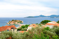 Beautiful Island and Luxury Resort Sveti Stefan, Montenegro. Balkans, Adriatic sea, Europe. Stock Photo