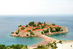 Beautiful Island and Luxury Resort Sveti Stefan, Montenegro. Balkans, Adriatic sea, Europe. Stock Photography