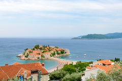 Beautiful Island and Luxury Resort Sveti Stefan, Montenegro. Balkans, Adriatic sea, Europe. Royalty Free Stock Photo