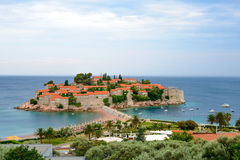 Beautiful Island and Luxury Resort Sveti Stefan, Montenegro. Balkans, Adriatic sea, Europe. Royalty Free Stock Photos