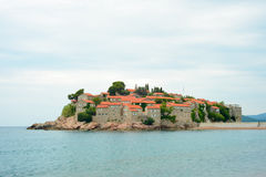 Beautiful Island and Luxury Resort Sveti Stefan, Montenegro. Balkans, Adriatic sea, Europe. Stock Images