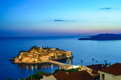 Beautiful Island and Luxury Resort Sveti Stefan at Night, Montenegro. Balkans, Adriatic sea, Europe. Royalty Free Stock Photo