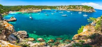 Beautiful island panorama view of bay with yachts at Portals Vells beaches, Majorca, Spain