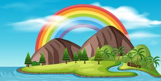 A Beautiful Island and Rainbow stock illustration