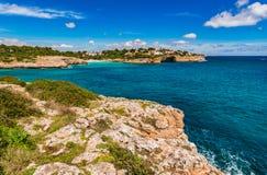Picturesqu coast view of seaside landscape on Majorca island. Beautiful island scenery, bay coastline of Cala Anguila, Mallorca Spain Mediterranean Sea Stock Images