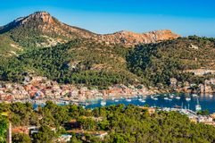 Mallorca, mountain landscape at coast of Port de Andratx. Beautiful island scenery, idyllic view of marina in Port de Andratx on Majorca, Spain Mediterranean Sea Stock Photography