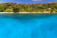 A Beautiful island in the Seychelles. Perfect beaches and blue sea water in Felicitè island stock image