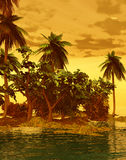 Beautiful island in the sunset Royalty Free Stock Photos