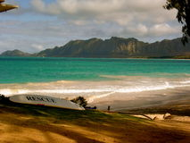 Beautiful Island With Surf Board. Beautiful Hawaii Picture with a Rescue SurfBoard Stock Images