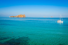 Beautiful island and turquoise waters in Cala Conta, Ibiza Spain Stock Photo